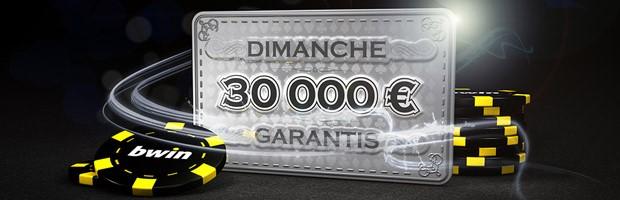 Le Dimanche 30.000€ garantis sur Bwin Poker