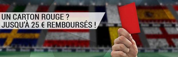 Bwin Sport vous rembourse jusqu'à 25€par match durant l'Euro 2016 en cas de carton rouge