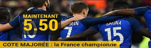 La cote boostée de la France avec Bwin pour l'Euro 2016