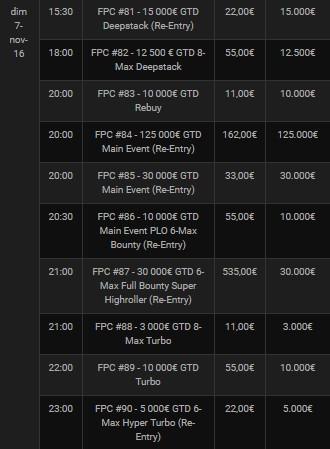 Le Main Event des FPC sur Bwin Poker