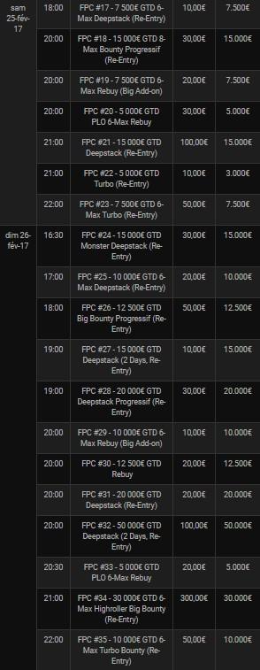 Le PFC VII de Bwin Poker : le programme