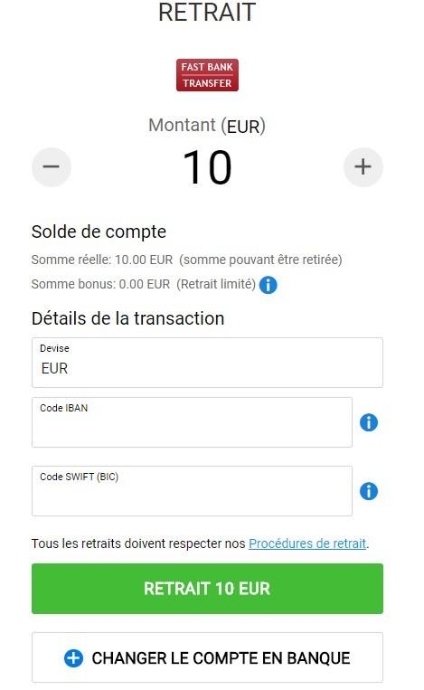 Bwin : retrait d'argent