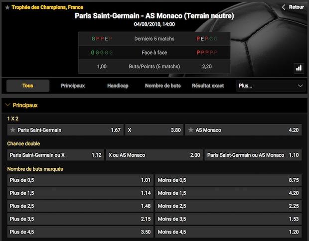 Les paris ouverts par Bwin sur Paris/Monaco