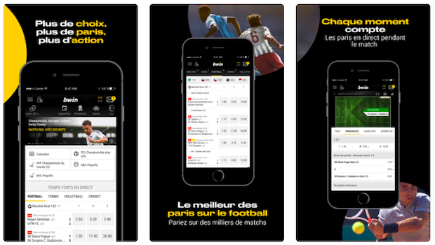 Application iOS et Android de Bwin