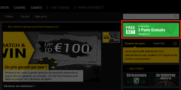 Trouver les freebets Bwin
